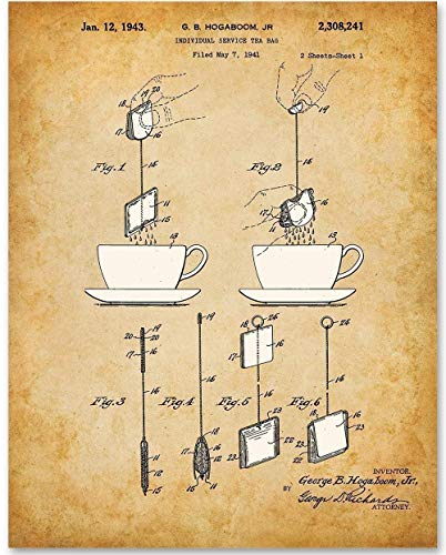 Tea Bag - 11x14 Unframed Patent Print - Makes a Great Gift Under $15 for Tea Lovers