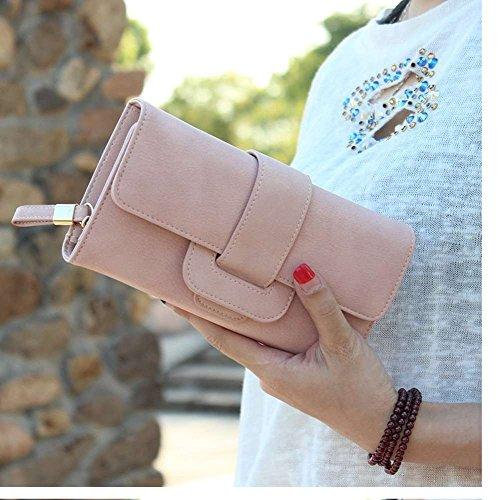 main monnaie Porte PU Porte à Cuir cartes Badiya femme Rose Porte monnaie cadeaux longue pour Sac Femme d'embrayage Embrayage 7wqc5Pv
