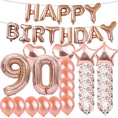 Sweet 90th Birthday Decorations Party Supplies,Rose Gold Number 90 Balloons,90th Foil Mylar Balloons Latex Balloon Decoration,Great 90th Birthday Gifts for Girls,Women,Men,Photo Props