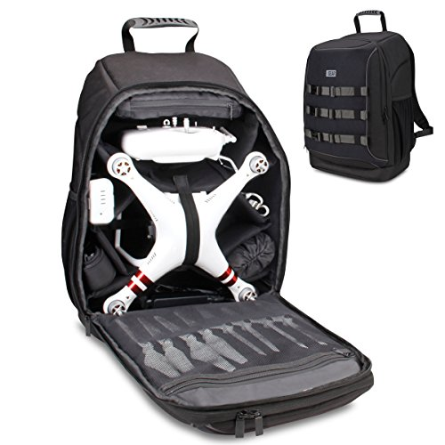USA Gear FPV Drone Backpack Compatible with DJI Phantom 4, 3, Mavic Pro, Yuneec Breeze and RC Quadcopters - Custom Interior, Thick Padded Protection, Exterior Storage Straps and Waterproof Rain Cover