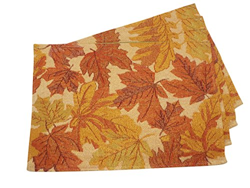 "Fall Leaves Tapestry Placemats - Set of 4 - Red and Gold - 13 x 19 Inches - Set of four truly elegant Fall placemats with leaves in hues of gold and red Gold thread adds a touch of shimmer to the placemats, red and gold are complemented with shades of rust and green. A great way to ""redecorate"" without going to a lot of expense - placemats, kitchen-dining-room-table-linens, kitchen-dining-room - 51OrM1 v8kL -"