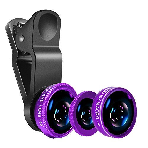 Luxsure Universal 3 in 1 Camera Lens Kit Clip-On 180 Degree Supreme Fisheye + 0.65X Wide Angle+ 10X Macro Lens for iPhone 6s/6s Plus, iPhone 6/6 Plus,iPhone 5 5S 4 4S Samsung HTC Android (Purple)