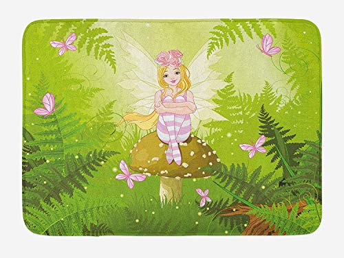 Nursery Bath Mat, Magic Fairy Girl with Floral Hairstyle in Green Forest Pink Butterflies, Plush Bathroom Decor Mat with Non Slip Backing, 23.6 W X 15.7 W Inches, Green Pale -
