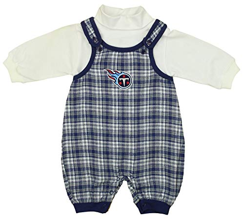 Mighty Mac Tennessee Titans NFL Baby Boys Newborn Flannel Overall Set, Blue Plaid/White (6-9 Months, Blue Plaid)