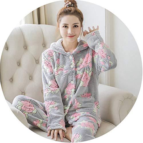 Cardigan Pajamas Suit Winter Women Pajamas Set Sleepwear Flannel Pajamas Nightwear Top Pan,Gray,XXL