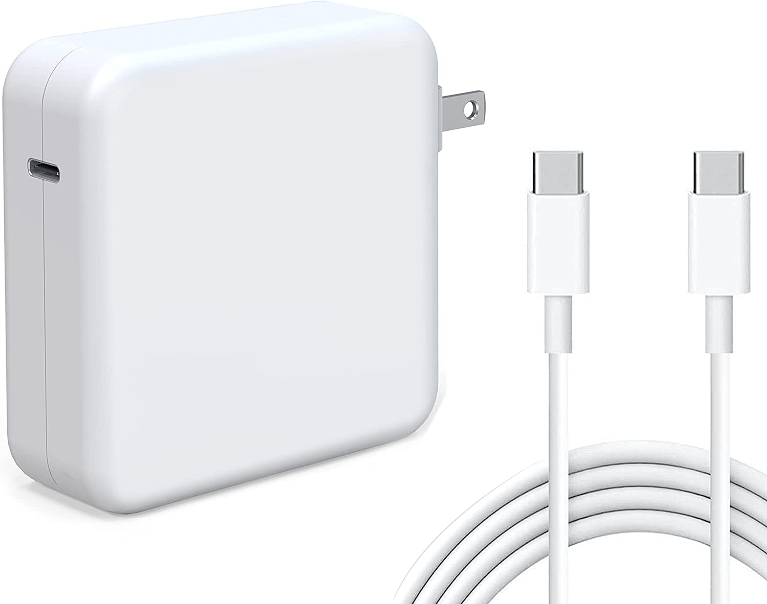 Tissyee 61W USB C Power Adapter, Compatible with MacBook Pro Charger, for MacBook Pro 13 15 16 inch 2020 2019 2018 New Air 13 inch,Works with 61W 30W, Included USB-C to USB-C Charge Cable (6.6ft/2m)