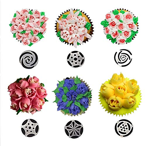 Cake Piping Tips Russian Cake Nozzles Icing Tips Pastry Bag For Cake Cupcake Decorating Supplies Set (30 PCS) by Monster* (Image #3)