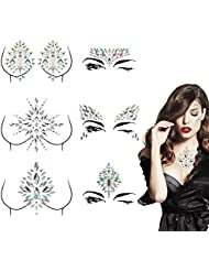 Madholly 6 sets Rhinestone Face Body Jewels, Self-adhesive Rave Face Gems, Crystal Face Breast Chest Gem Tattoo Stickers