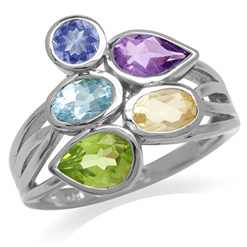 Multicolor Tanzanite Amethyst Topaz Citrine Peridot 925 Sterling Silver Ring Size 8