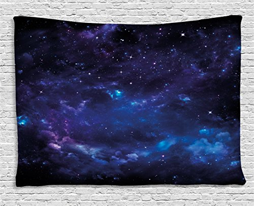 Ambesonne Sky Tapestry, Space Illustration Night Time Universe Stars Nebulas Distant Parts Galaxy, Wall Hanging Bedroom Living Room Dorm, 80 W X 60 L inches, Purple Blue Black