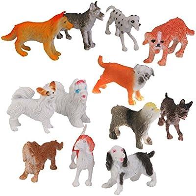 12pcs Juguetes de Animales Mascota Perro Pl/ástico de Varios Colores