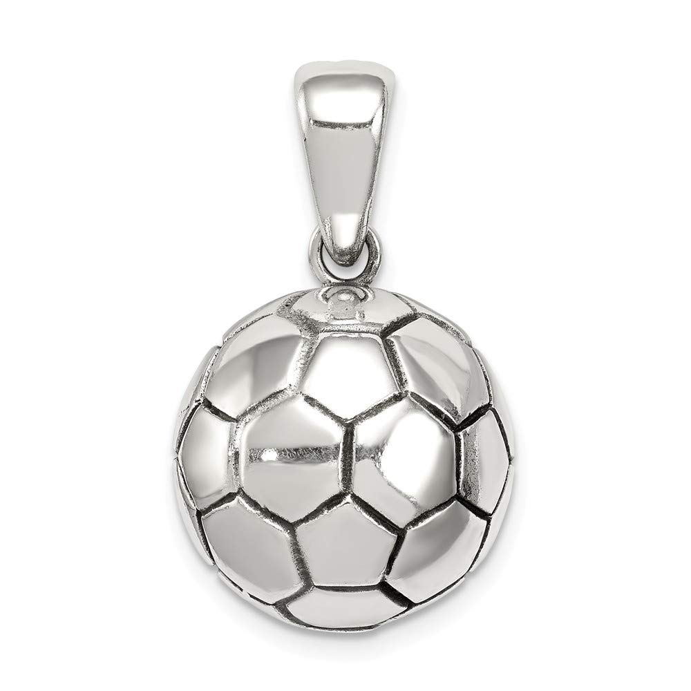 15mm x 10mm Mia Diamonds 925 Sterling Silver Solid Antiqued Soccer Ball Pendant