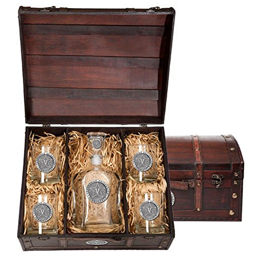 Vanderbilt Commodores Capitol Decanter Wood Chest Set by Heritage Metalworks