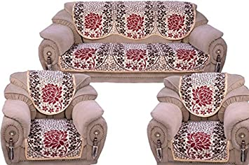 Decorista Velvet and Cotton Sofa Cover (Red) - 5 Seater