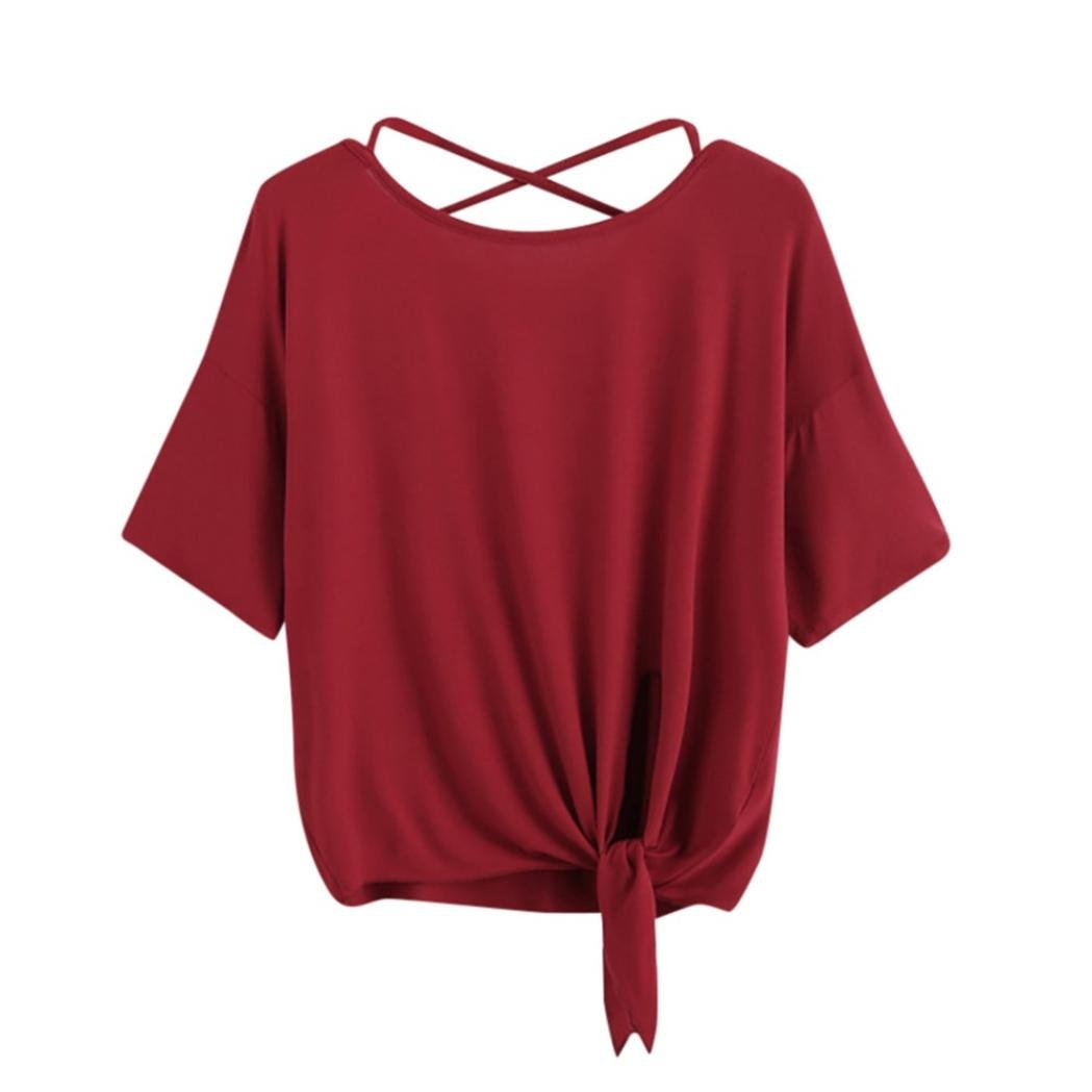 Womens T Shirt, Summer ANJUNIE Solid Crisscross Back Knot Half Sleeve Blouse at Amazon Womens Clothing store: