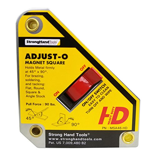 """Strong Hand Tools, Heavy Duty, Adjust-O Magnet Square, On/Off Switches, Pull Force: 65 lbs, 4-3/8"""" x 3-3/4"""" x 1-1/8"""", MSA46-HD"""