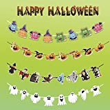 Charmly 4 Pcs Halloween Paper Garlands Bunting Banners Flags Door Wall Window Hanging Decoration Ornaments