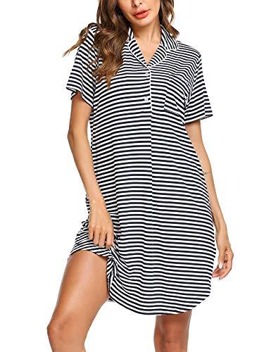 Ekouaer Womens Nightshirt Short Sleeves Nightgown Comfy Striped Boyfriend Style Top Sleepwear S-XXL (Striped Womens Nightgown)