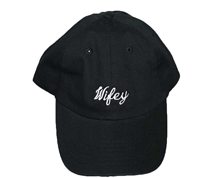 Wifey black baseball cap with cursive embroidery on the front at ... 6ea0411e873