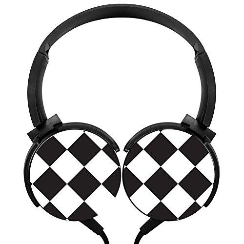 PjNnt Check Flag Deep Bass Wired Headphones Stereo HIFI Over-ear Earphone Black