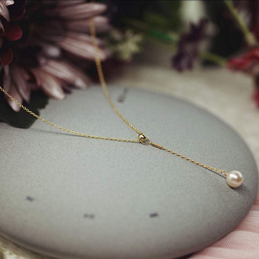 FOR TMT Collar X320S Artículo Decorado Brillante Cadena De Clavícula De Perlas Naturales Colgante 14K Nota Oro Collar En Forma De Y Novela Moda Suéter Cadena Regalo