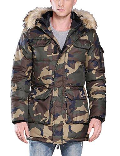 ZLSLZ Mens Winter Thick Warm Camo Long Padded Puffer Parka Jacket Coat With Fur Hood Green US XL