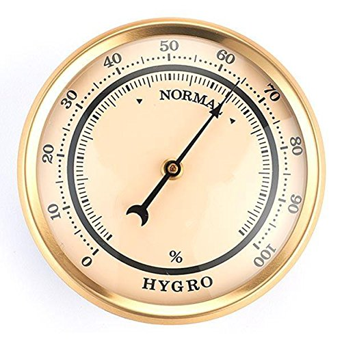 Hygrometer w/Ivory Dial and Brushed Gold Bezel by X-prime