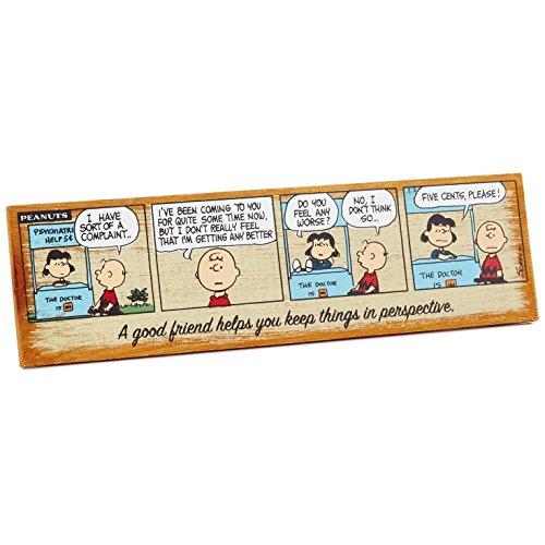HMK Hallmark Peanuts Good Friend Rustic Wood Wall Art