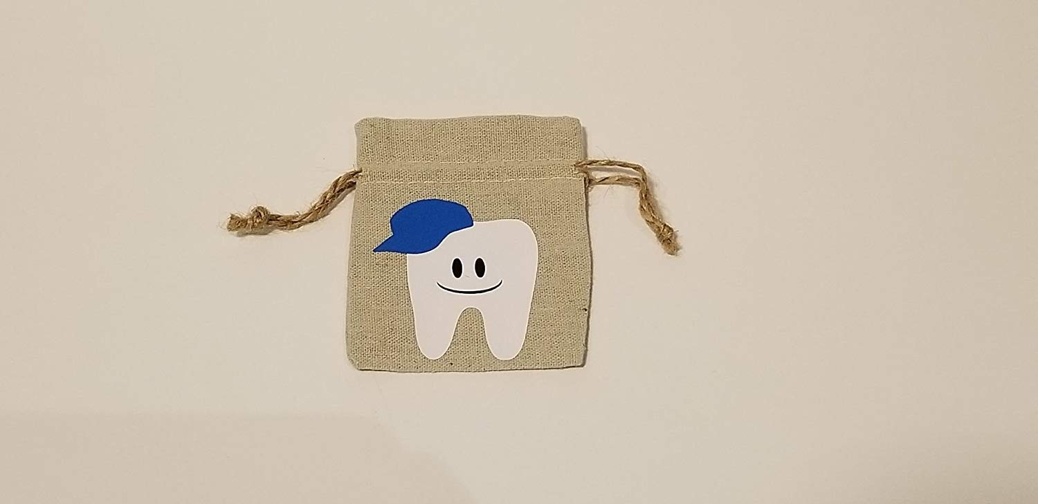 Boys-Blue. 2 in 1 Keepsake Tooth Fairy Bag Pouch and Tooth Storage Mini Tub