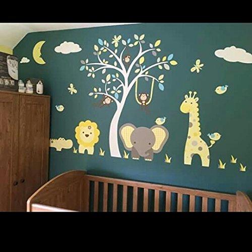 Pink and Grey Nursery Wall Decals Lion Zebra Sleeping Moon /& Hot Air Balloon Elephant Safari Wall Stickers featuring Giraffe Crocodile and Monkeys around a White Tree Mural