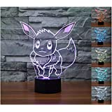 3D Illusion LED Night Light,7 Colors Gradual Changing Touch Switch USB Table Lamp for Holiday Gifts or Home Decorations (Tail Rabiit)