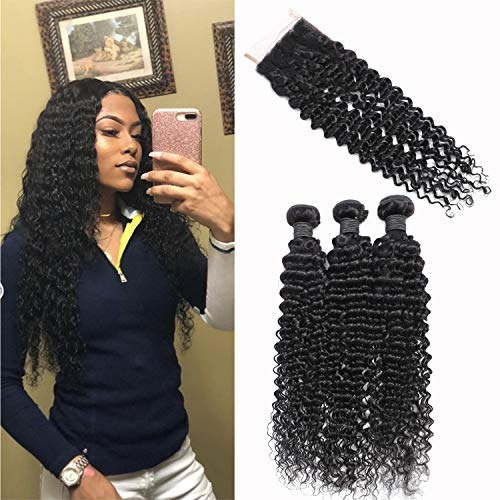 Brazilian Deep Wave Human Hair Bundles with Closure Unprocessed Virgin Human Hair Deep Curly Bundles with Free Part Lace Closure Natural Black(20 22 24+18 Closure)