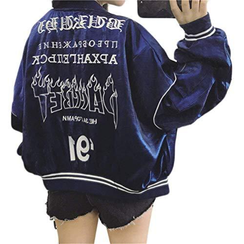 Fiore Chiusura Jacket Fidanzato Giovane A College Moda Outdoor Donna Giacca Elastico Stampa Bomber Cappotto Costume Biker Primaverile Huixin Cerniera Leggero Blau Autunno z8UxUwRO