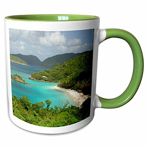 3dRose 70005_7 Usvi, St. John, Trunk Bay, Virgin Islands NP-CA37 Ceramic Mug, Green/White -