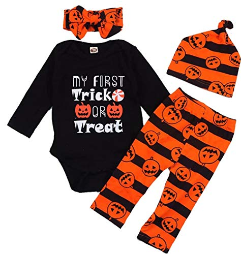 Baby Boys Girls My First Trick Or Treat Halloween Pumpkin Romper+Stripe Pants+Cap+Headband Set Size 6-12 Months/Tag80 -