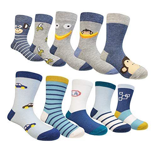 Muyubei Fashion Boys and Girls Children's Wearing ,Novelty Cartoon Car Pattern, Smart Monkey ,Spliced,Stripes,Gray,Blue Color Cotton Babies' Socks, 10 Pairs (Monkey, M-4-6 Years(13-17cm)) ()