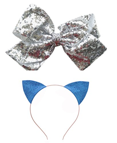 2 PC Baby Kids Girls Bling Sequins hair clip cat ears headband rainbow bow Toddler Barrettes Hairpins Head Accessories (White Light Blue)