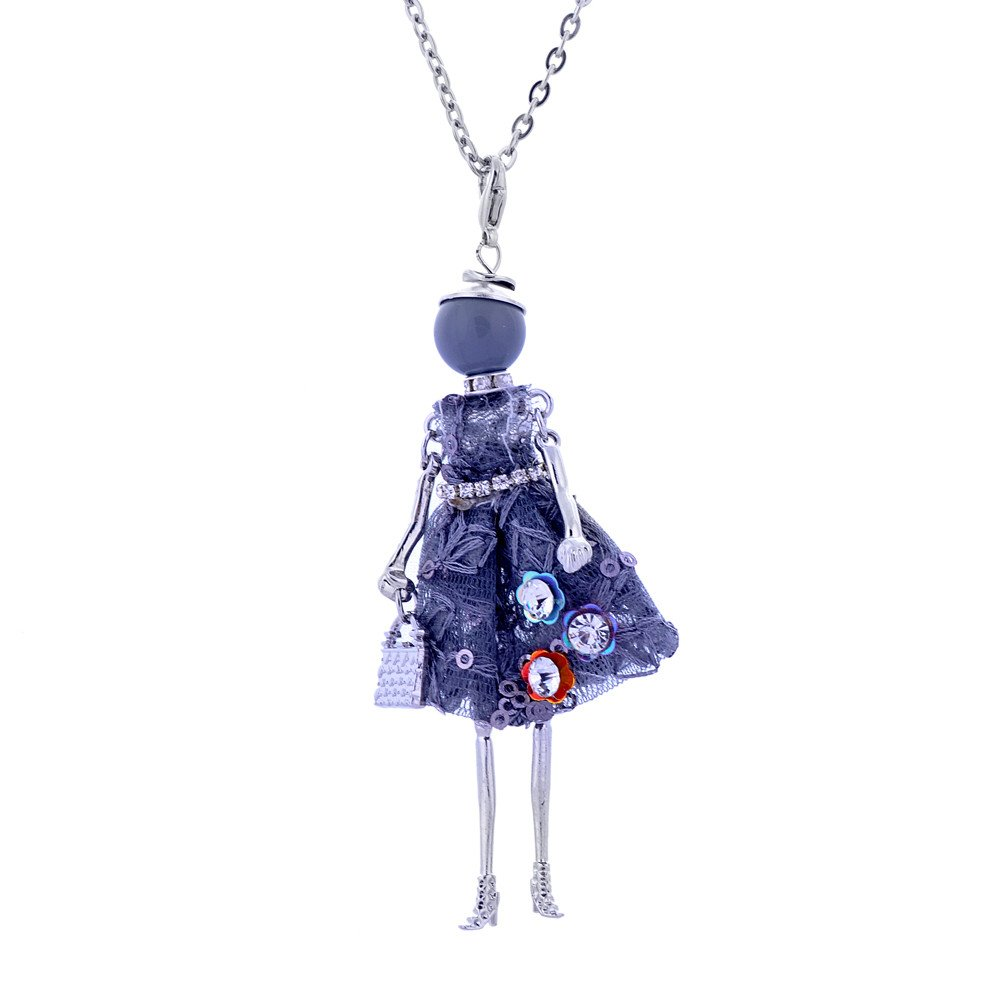 Lureme Handmade Doll Necklace Dress Pendant Long Chain Fashion Jewelry Lovely Design (nl005749) Yida nl005749-6