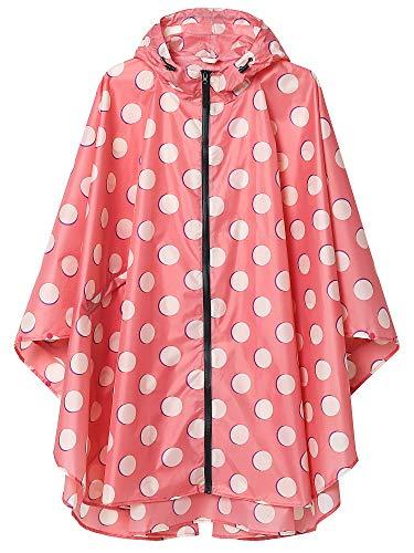 Women Waterproof Rain Poncho with Pockets Pink Polka Dot