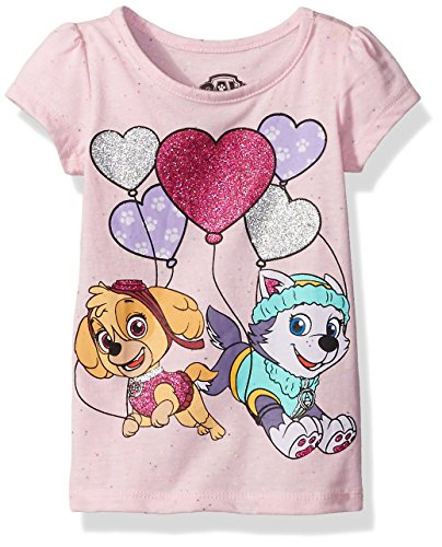 Nickelodeon Paw Patrol Little Girls' Toddler Short Sleeve T-Shirt, Pink Speckle, 4T
