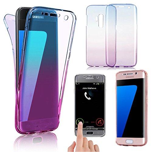 鉛適合主に「A-chito」 Galaxy S9 ケース 360度フルカバー ソフト TPU クリア 全方位保護 グラデーション Qi充電対応 軽量 耐衝撃 薄型 おしゃれ 携帯カバー ギャラクシーs9 ケース (Blue&Purple)