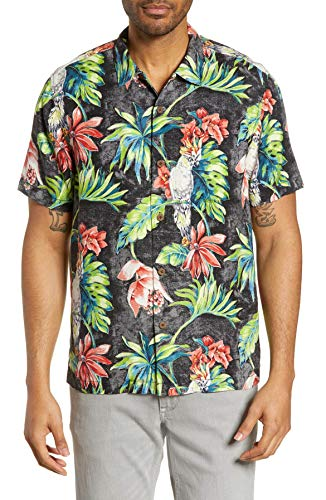 Tommy Bahama Tahitian Tweets Silk Camp Shirt (Color: Black, Size XL)