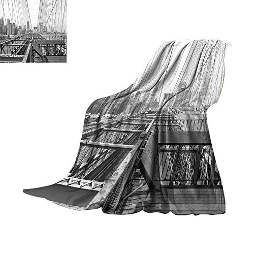 RenteriaDecor Modern,Soft Blanket Microfiber Vintage View of Brooklyn Bridge in New York City Mechanic USA American Print Throw Rug Sofa Bedding W60 x L35 inch