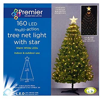 fabulous effective simple christmas tree net lights with star festive decoration amazoncouk lighting