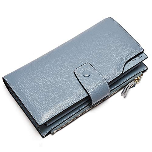 BOSTANTEN Womens Wallet Genuine Leather Wallets Large Capacity Cash Cluth Purses with Zipper Pocket (1-blue)