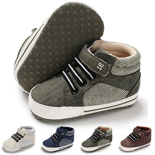 Baby Boys Girls Canvas Shoes Soft Sole Lightweight High-Top Sneaker Infant Toddler First Walker Crib Shoes(0-18 Months) 0-6 Months Infant, C-Olive Green Baby Shoes