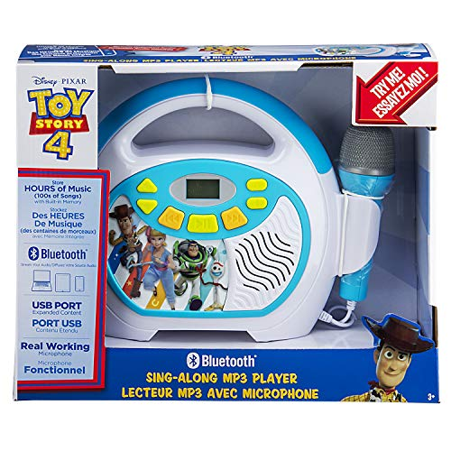 Toy Story 4 Bluetooth Sing Along Portable MP3 Player Real Working Microphone Stores Up To 16 Hours of Music with 1 GB Built In Memory USB Port To Expand Your Content Built In Rechargeable Batteries by eKids (Image #4)