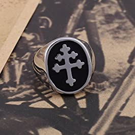 Black Enamel Cross of Lorraine Stainless Steel Mens Ring Knights Templar Crusader