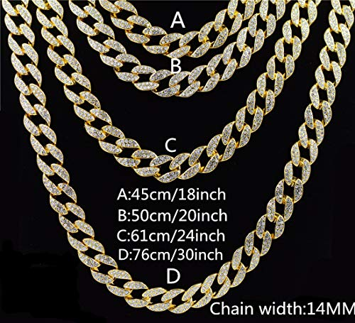3-Mei Iced Out Bling Rhinestone Crystal Gold Finish Miami Cuban Link Chain Men's Hip Hop Necklace Jewelry 18,20, 24, 30 Inch