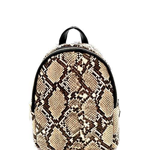 Snake Print PU Leather 2-Way Medium Backpack Shoulder Bag ()